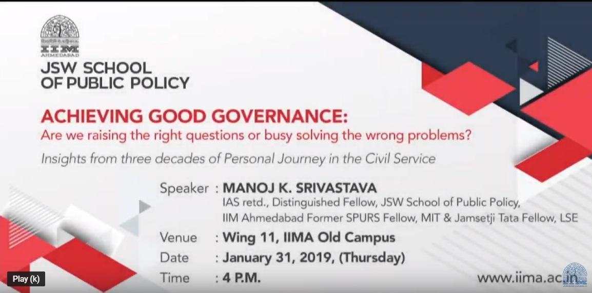 Achieving Good Governance, Manoj K. Srivastava